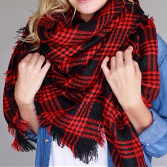 dc41df8caf7be Accessories - Red   Black Plaid Blanket Scarf